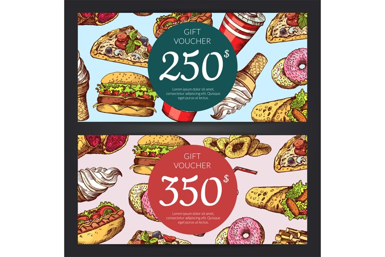 Vector discount or gift voucher with fast food example image 1
