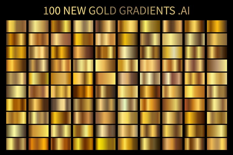 100 New Gold Gradients .AI example image 1