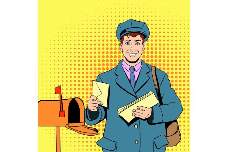 Comics postman holding mail and bag example image 1