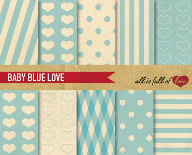Baby Blue Digital Paper Pastel Background Patterns with Vintage Paper example image 1