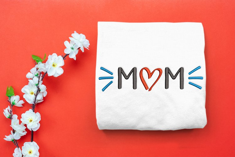 Mom with Heart in Hand Drawn Style Embroidery Design