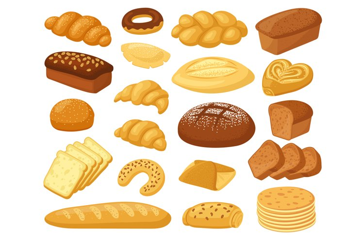 Cartoon Bread Bakery Products Roll Baguette Bread Loaf An 1053530 Objects Design Bundles
