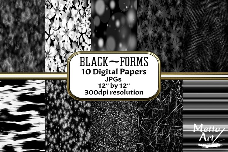 Black Forms - 10 Digital Papers/Backgrounds