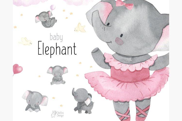 Elephant clipart. Watercolor baby animal clip art