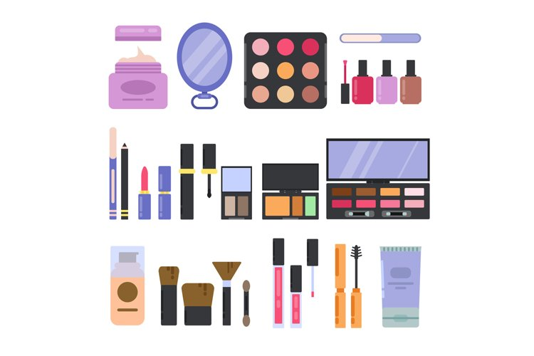 Different perfume and cosmetics set. Makeup illustrations in