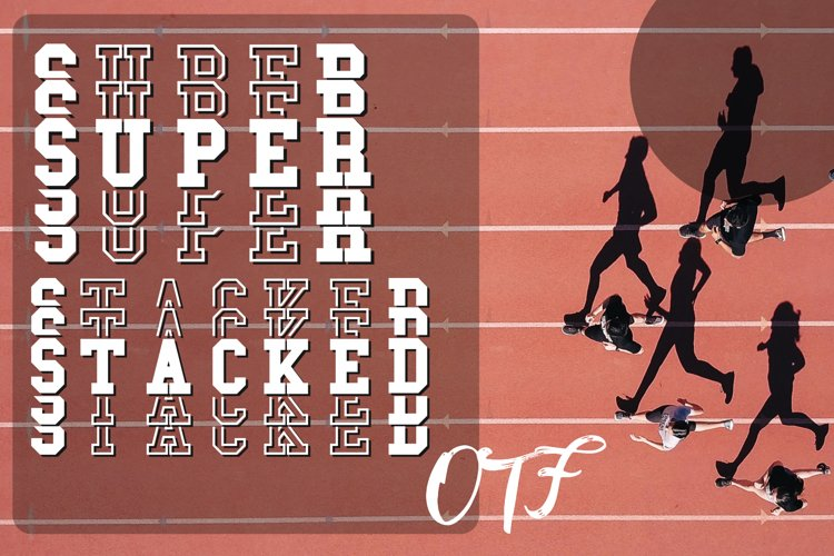 Super Stacked Mirror Sport Font Filled and Outlined example image 1