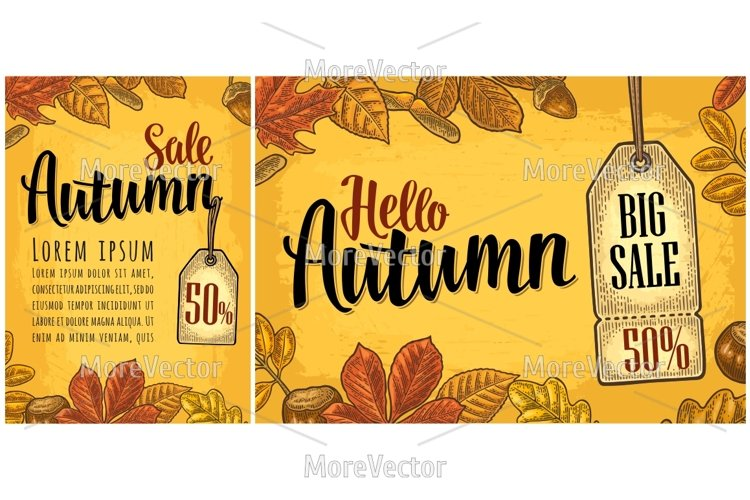 Poster HELLO AUTUMN lettering with set leaf and acorn.  example image 1
