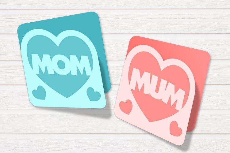 Mom and Mum Heart Layered Papercut Card SVG