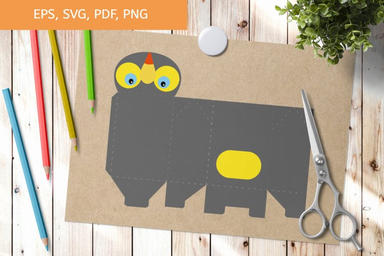 Cute Gift Package Toucan Template SVG, Gift Box SVG example image 1