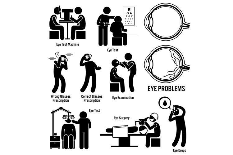 Eye Optic Diagnosis Exam Surgery Optometrist Stick Figures example image 1