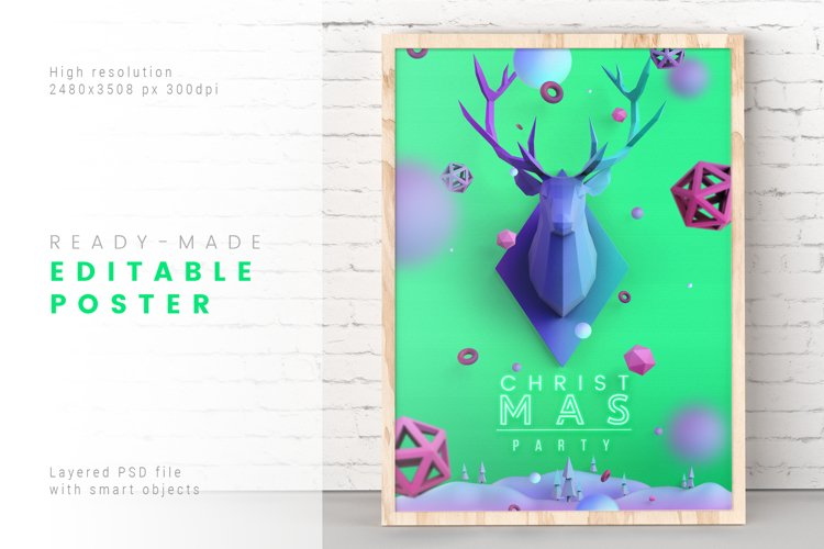 Christmas Poster in Aquamarine Color / Layered PSD example image 1