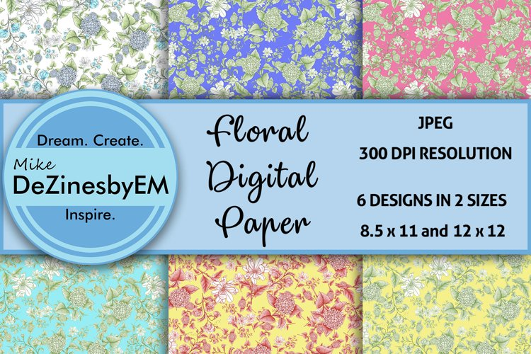 Colorful Floral Digital Paper 8.5x11 & 12x12 included example image 1