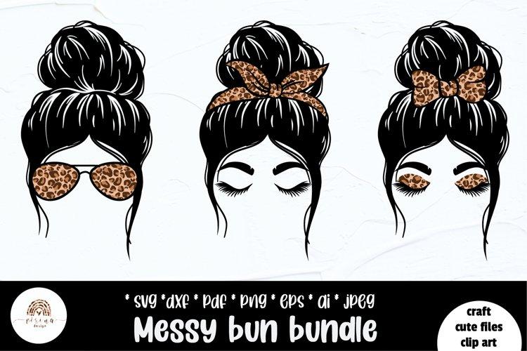 Messy Bun SVG, Messy bun bundle Leopard print