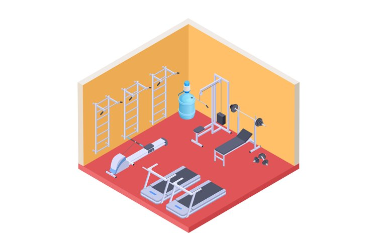 Isometric gym and fitness equipment. Vector fitness room, sp example image 1