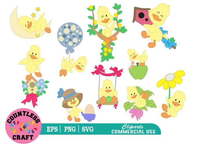 Cute little ducks clipart, ducks clipart, Kawaii clipart example image 1