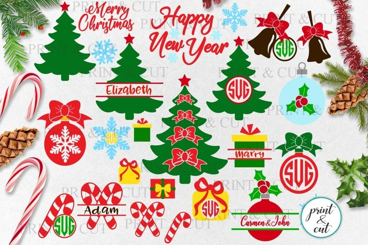 Christmas elements bundle Tree Baubles Bell Candy Cane svg example image 1