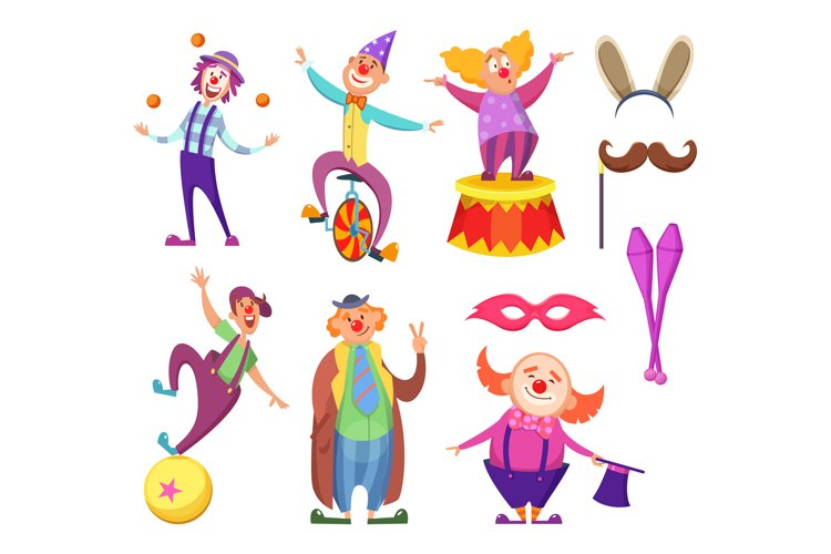 Funny clowns characters and different circus accessories example image 1