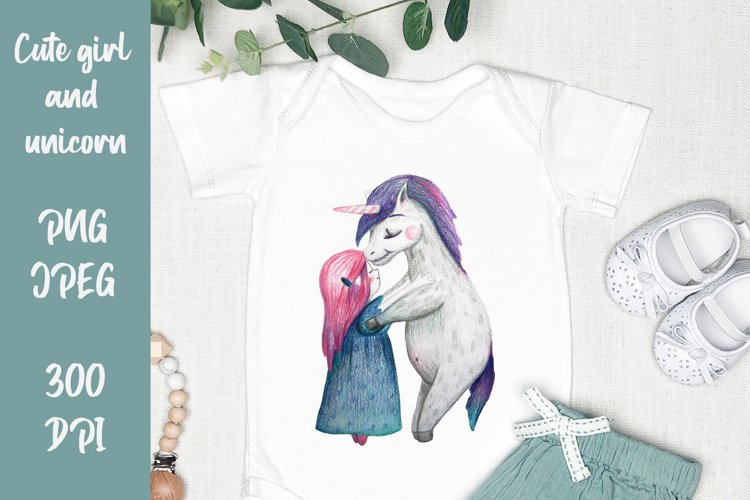 Cute girl hugging unicorn. PNG, JPEG for Sublimation print example image 1