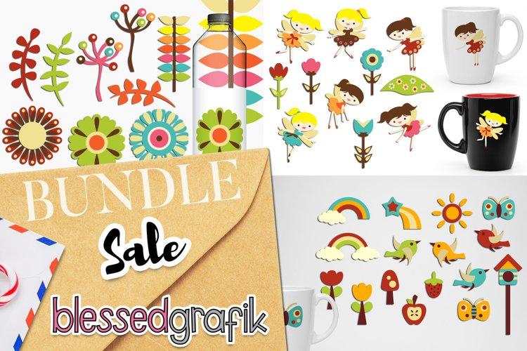 Spring Garden Fairy Clip Art Illustrations Bundle