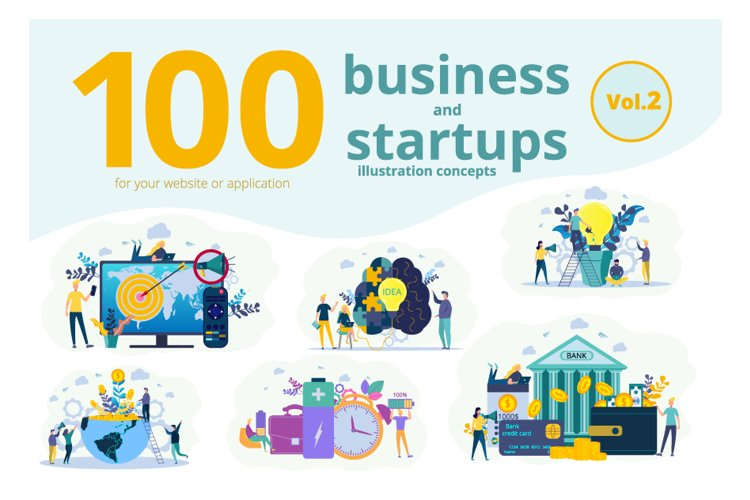 100 business and start up concepts creative illustrations