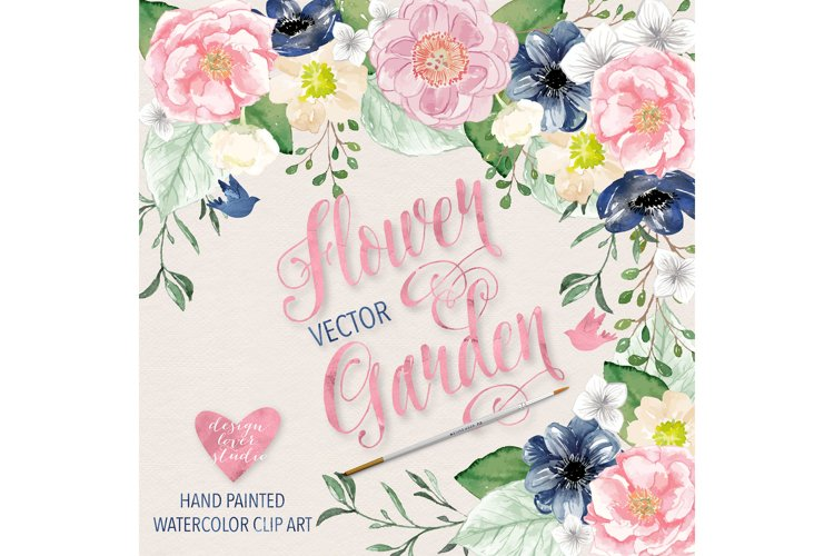 Vector Watercolor Navy blue and Pink Flower Garden clipart - Free Design of The Week Design0