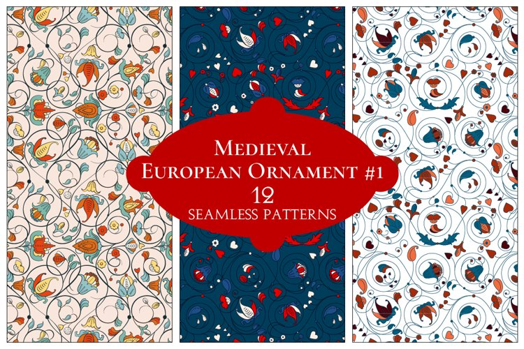 12 European Floral Patterns example image 1