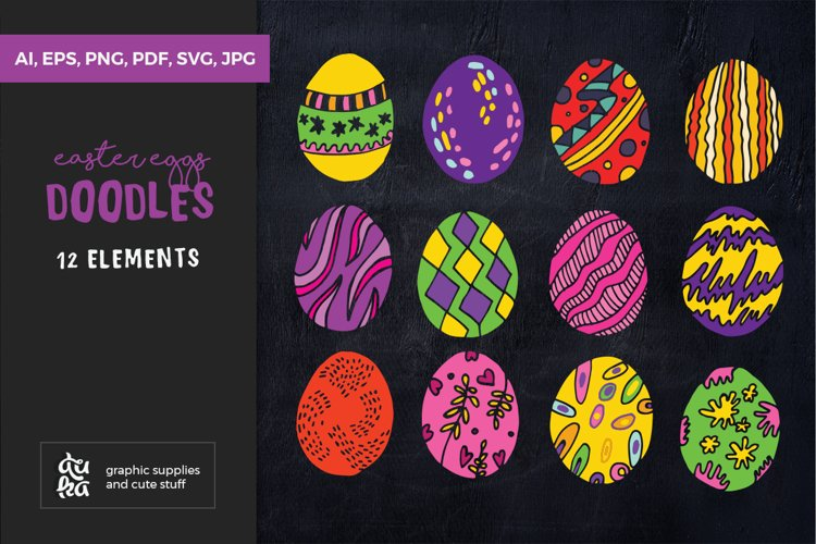 Easter SVG Cut File - Easter Coloured Eggs