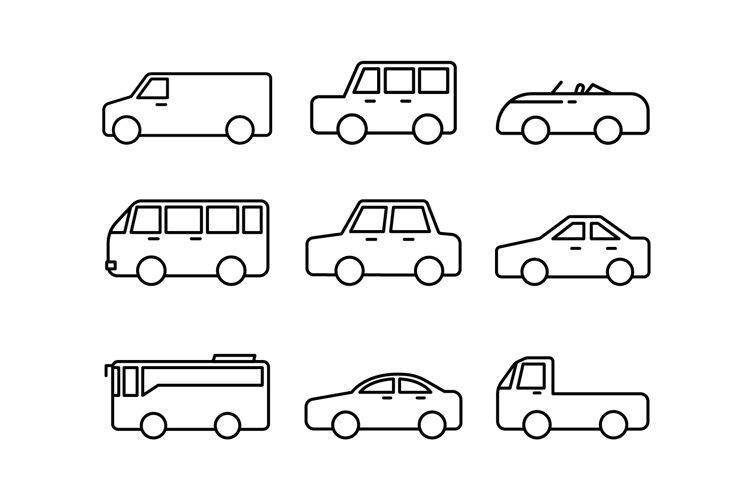 Car line icons on white background example image 1