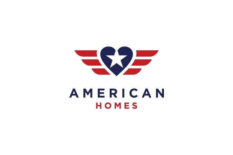 American flag with heart home logo design inspiration