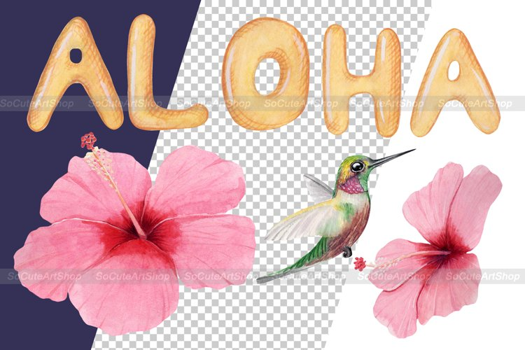 Watercolor Luau party PNG clipart, summer beach clipart example 7