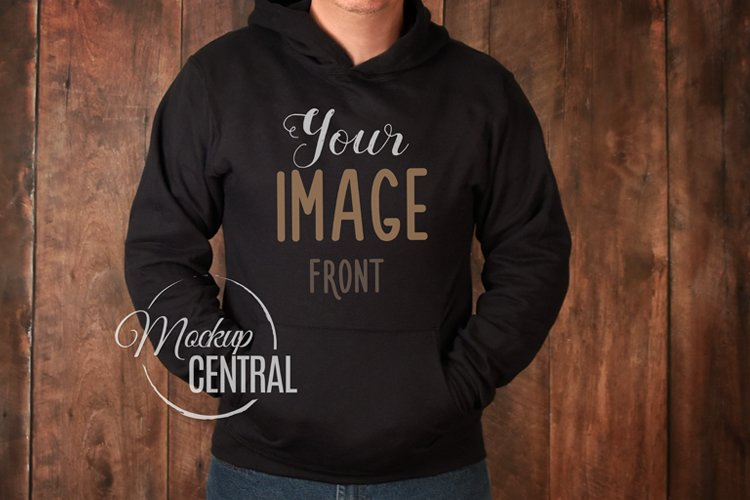 Men's Black Hoodie Sweatshirt Mockup, Man's Mock Up example image 1
