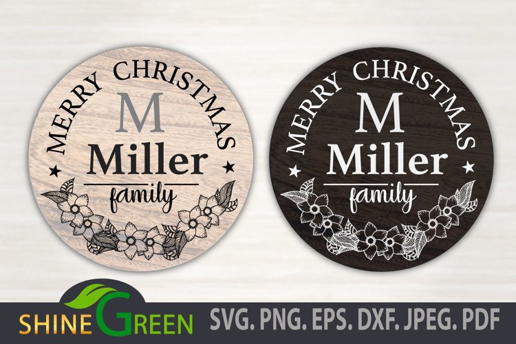 Monogram SVG - Merry Christmas - Floral Family Frame example image 1