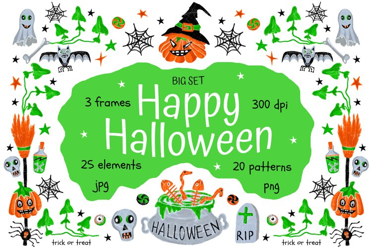 Happy Halloween - elements and patterns, big set example image 1