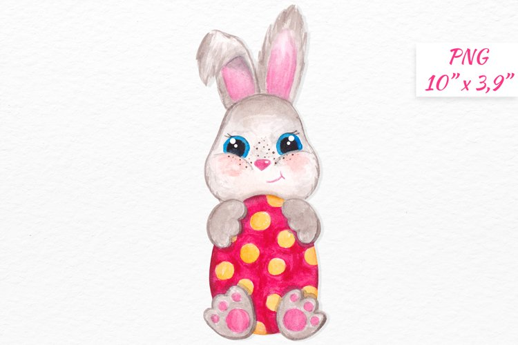 Watercolor Easter bunny clipart Cute little Bunny with egg example image 1