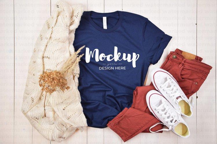 Bella Canvas 3001 Navy T-Shirt Mockup Template example image 1