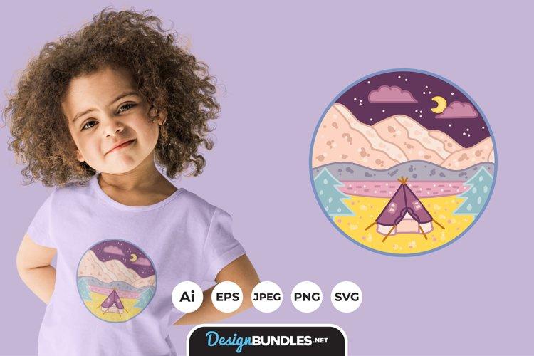Camping Illustrations for T-Shirt Design