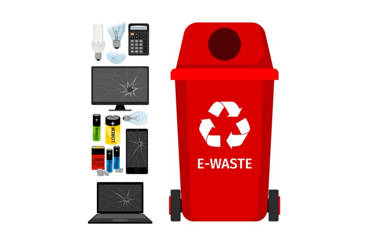Red garbage can with e-waste elements example image 1