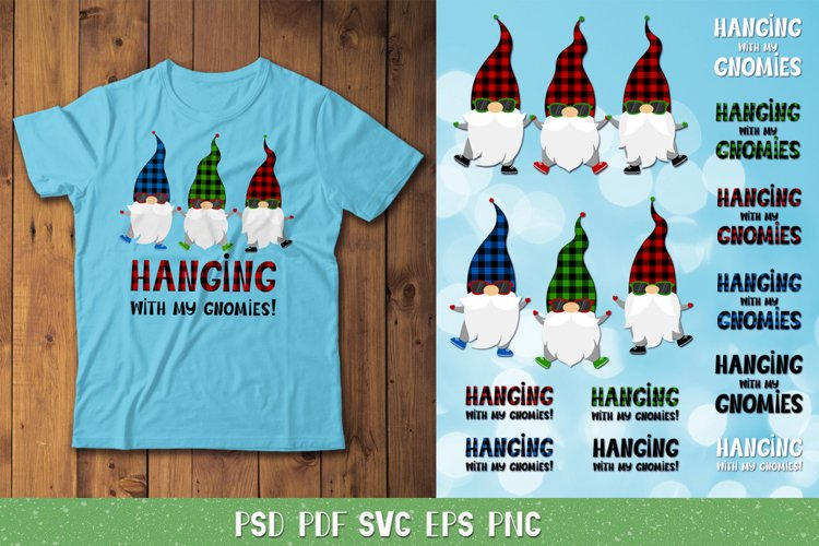 Hanging With My Gnomies Svg Christmas Gnomes Plaid Pattern 1003356 Cut Files Design Bundles
