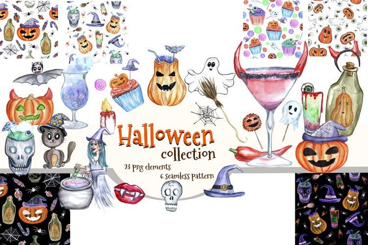 Watercolor Halloween clipart.Happy Halloween.Digital paper. example image 1