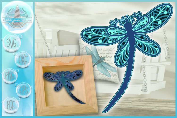 3D SVG Layered Design | 3D Dragonfly Mandala | 3D Mandala
