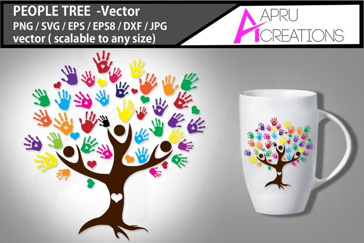 people tree vector clipart / people tree silhouette / people tree SVG / hand prints svg