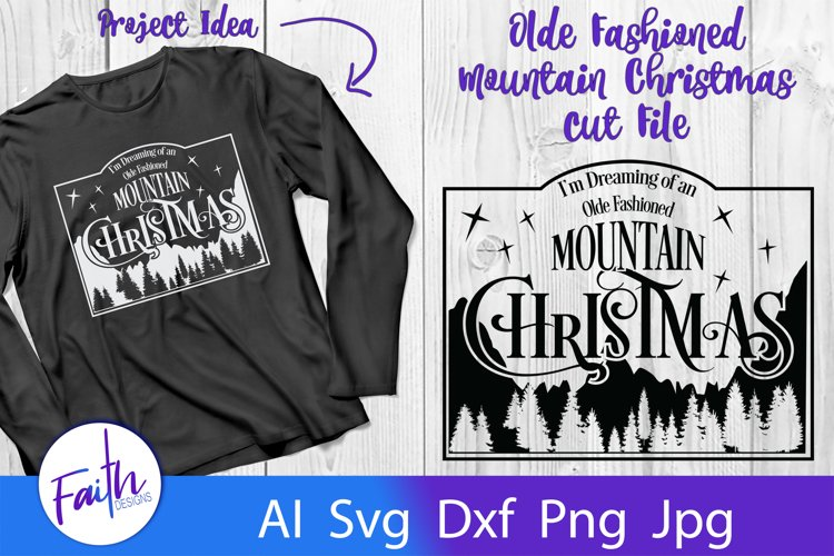 Mountain Christmas Svg Cut File example image 1
