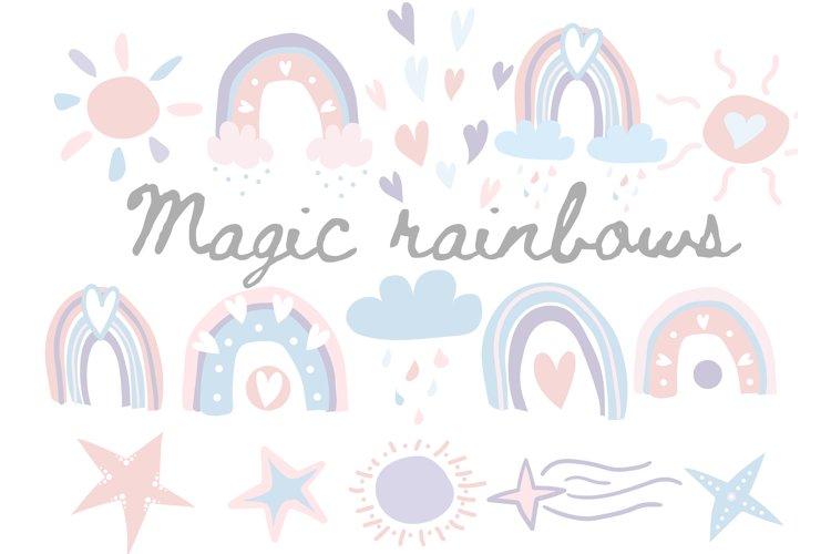 Magic rainbows, clouds and rain, hearts and stars, the sun