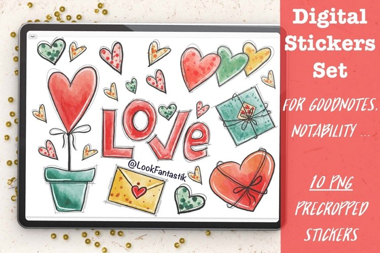 Valentines Day LOVE Digital Sticker Set For GoodNotes Planne example image 1
