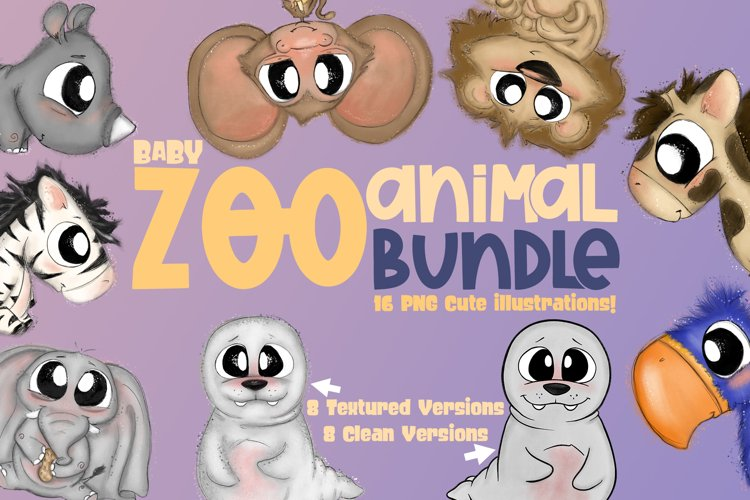 Baby Zoo Animal Bundle|Emotions|Cute Clipart| Animal Clipart