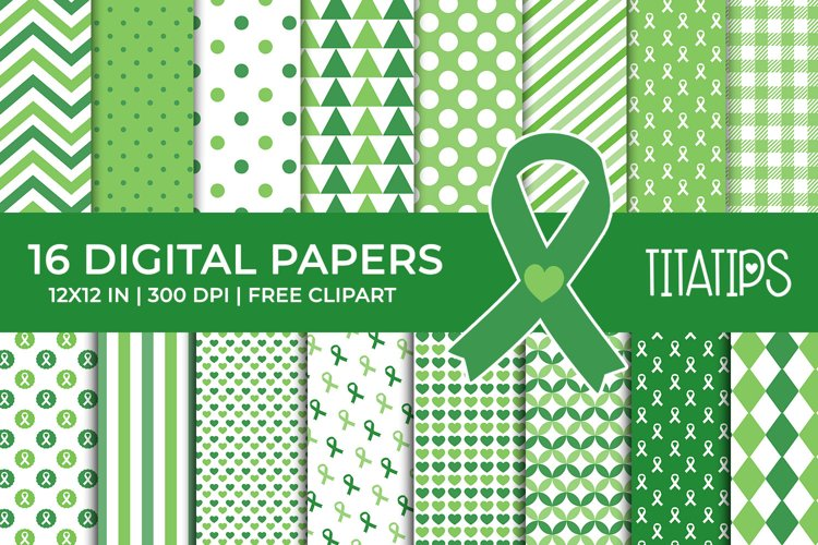 Cancer Awareness Digital Papers, Ribbon Patterns example image 1