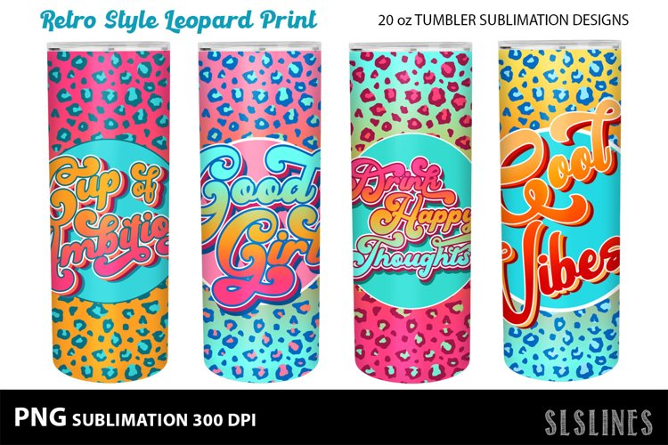 Skinny Tumbler Sublimation - Retro Leopard Print Set