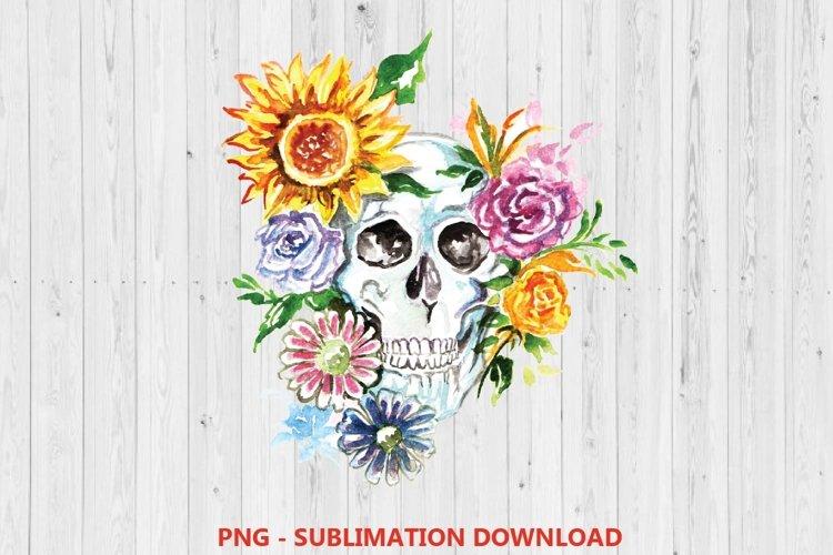 Floral Sugar skull, Sugar Skull sublimation Design, skull example image 1