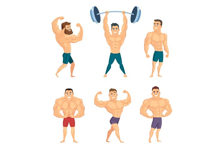 Cartoon characters of strong and muscular bodybuilders posin example image 1