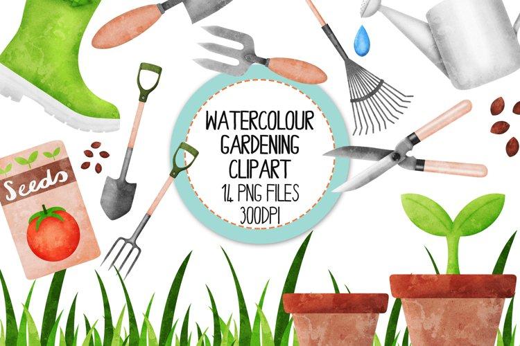 Watercolor Gardening Clip Art Set
